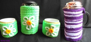 Handmade crochet coffee cosies