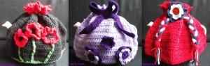 Handmade crochet tea cosies