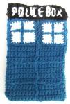 Handmade crochet TARDIS Kindle cover