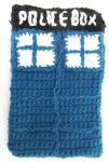 Handmade crochet TARDIS Kindle cover
