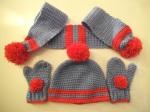 Toddler pom-pom hat and scarf
