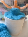 Quirky Purple  crochet doll toilet roll cover