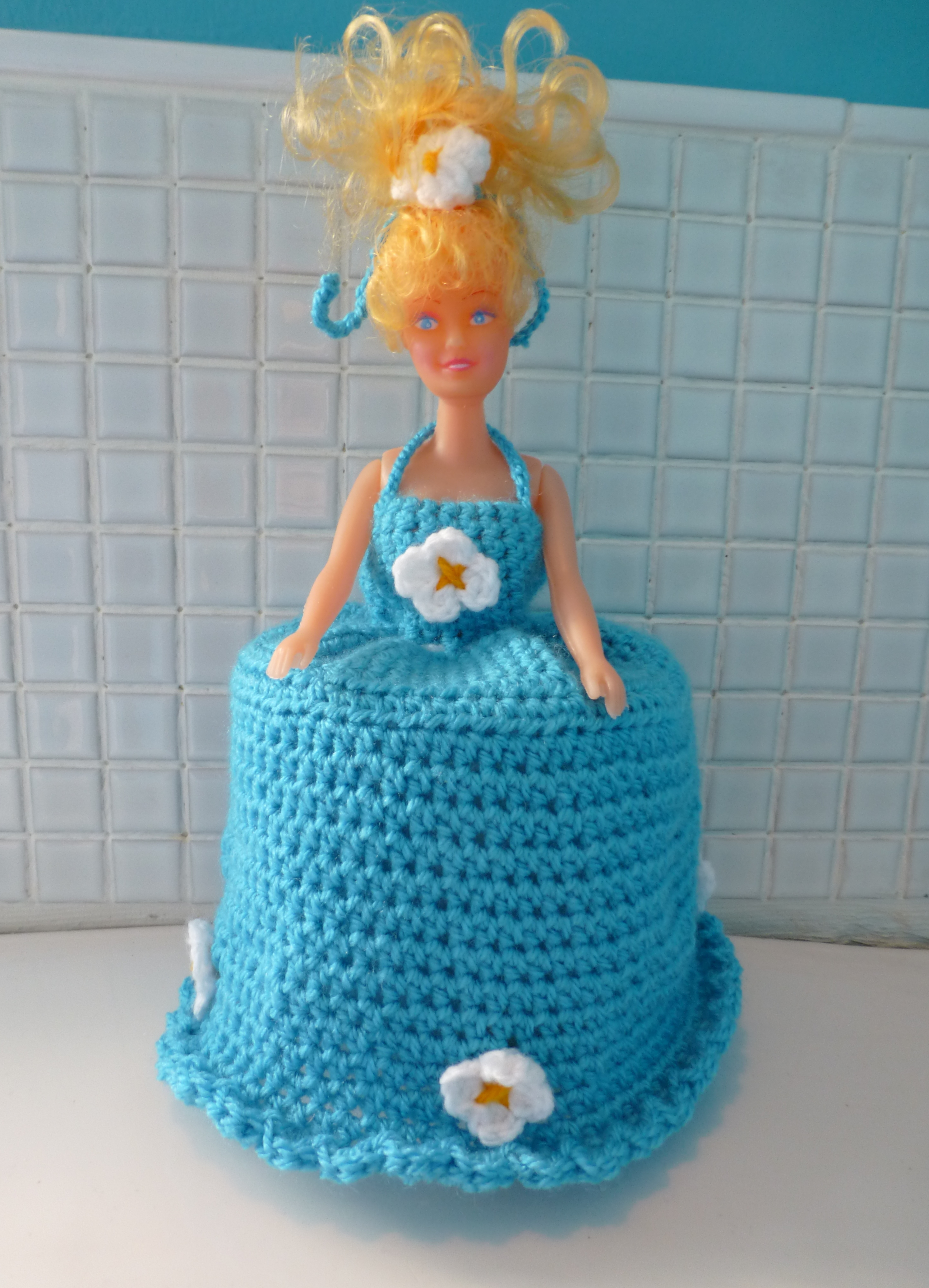 Crochet Toilet Roll Cover Doll Quirky Purple