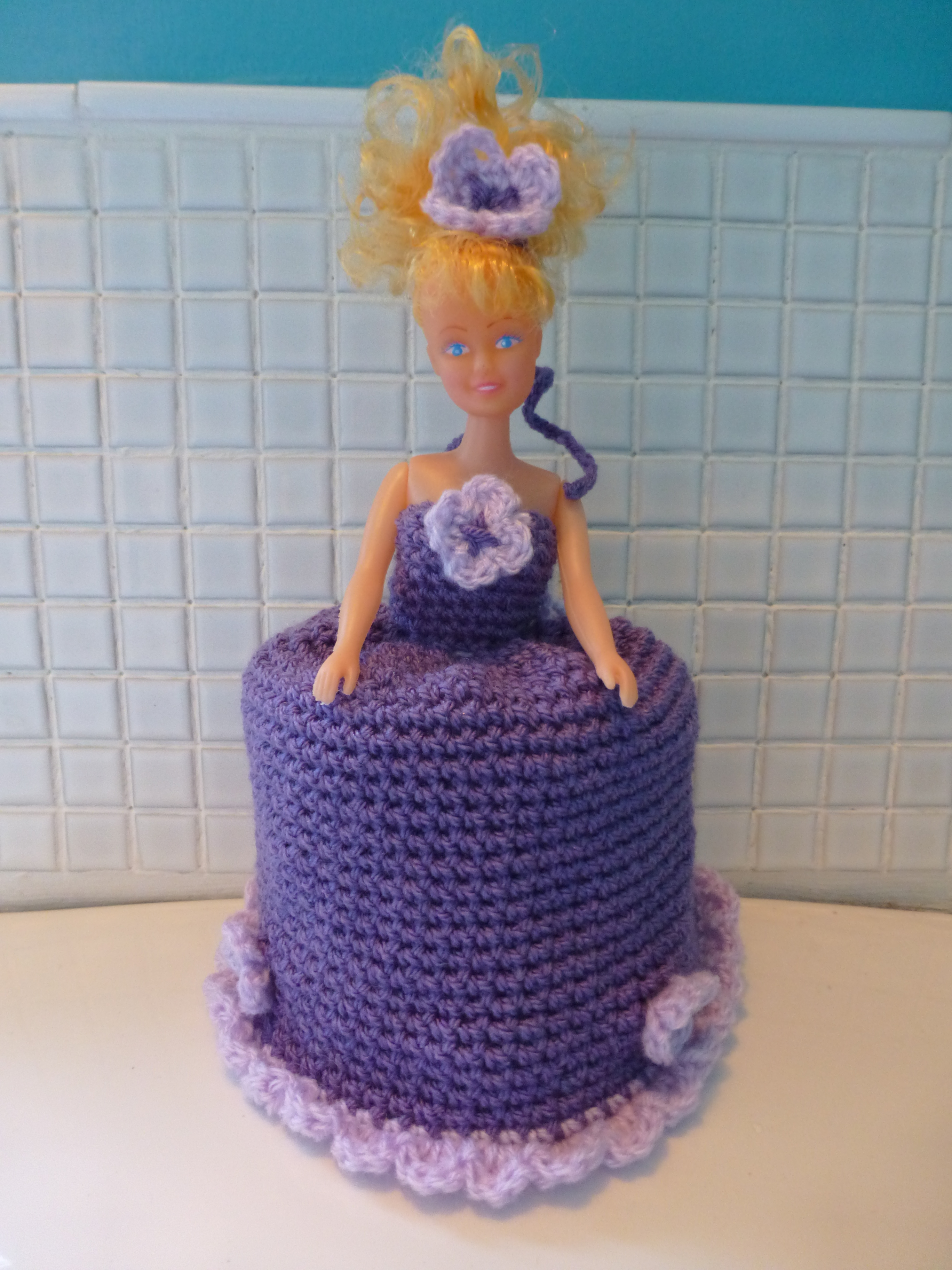 Crochet Doll Toilet Roll Cover Quirky Purple