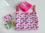 Dolls' cloth nappies and bag